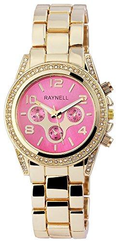 Damen mit Quarzwerk RP4990550003 Metallgehaeuse mit Metall Armband in Goldfarbig und Faltschliesse Ziffernblattfarbe Pink Bandgesamtlaenge 20 cm Armbandbreite 20 mm