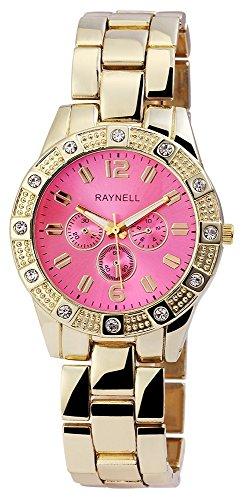 Damen mit Quarzwerk RP4990550004 Metallgehaeuse mit Metall Armband in Goldfarbig und Faltschliesse Ziffernblattfarbe Pink Bandgesamtlaenge 20 cm Armbandbreite 20 mm