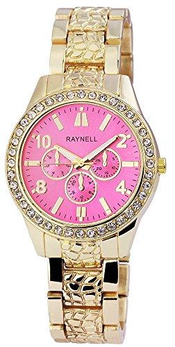 Damen mit Quarzwerk RP4990550005 Metallgehaeuse mit Metall Armband in Goldfarbig und Faltschliesse Ziffernblattfarbe Pink Bandgesamtlaenge 20 cm Armbandbreite 18 mm
