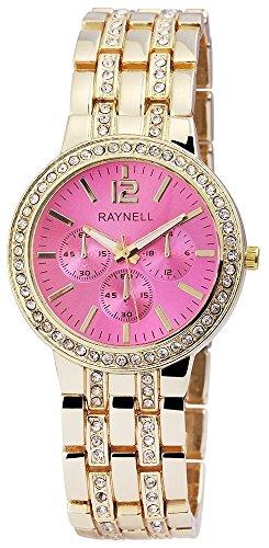 Damen mit Quarzwerk RP4990550007 Metallgehaeuse mit Metall Armband in Goldfarbig und Faltschliesse Ziffernblattfarbe Pink Bandgesamtlaenge 20 cm Armbandbreite 20 mm