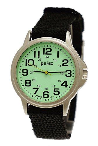 NY London Damen Herren Kinder Nylon Textil Night Glow Armband Uhr mit leuchtendem Ziffernblatt in Schwarz inkl Uhrenbox