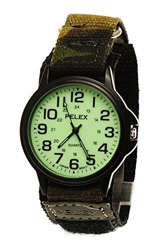NY London Damen Herren Nylon Armbanduhr Textil Night Glow Camouflage Klettverschluss Armband Uhr mit leuchtendem Ziffernblatt in Schwarz Gruen inkl Uhrenbox