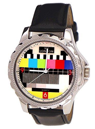 NY London designer Error Testbild Fernseher Unisex Damen Herren Leder Armband Uhr Schwarz inkl Uhrenbox