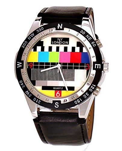 NY London designer Error Testbild Fernseher Unisex Leder Armband Uhr Schwarz inkl Uhrenbox