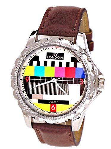 NY London designer Error Testbild Fernseher Unisex Damen Herren Leder Armband Uhr Braun inkl Uhrenbox