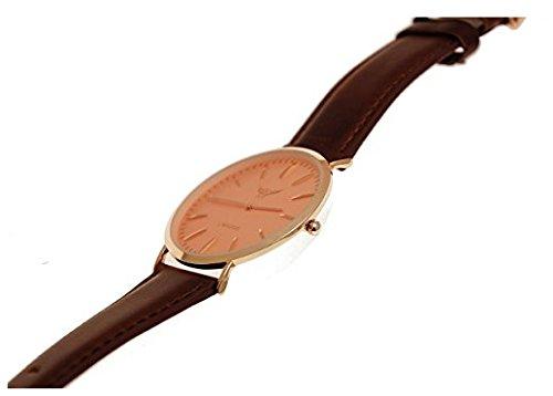 NY London designer Slim Damen Herren Rinder Leder Armband Uhr Braun Rose Gold Armbanduhr super flach inkl Uhrenbox