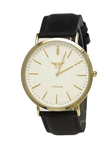 NY London designer Slim Damen Herren Rinder Leder Armband Uhr Schwarz Weiss Gold super flach inkl Uhrenbox