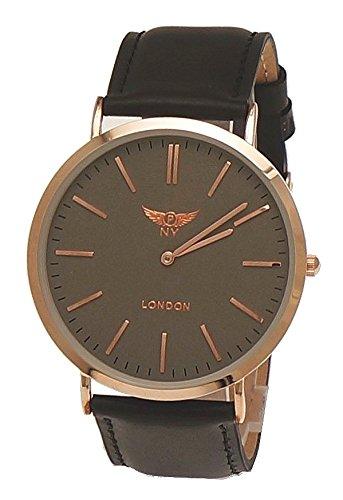 NY London designer Slim Damen Herren Rinder Leder Armband Uhr Schwarz Grau Rose Gold super flach inkl Uhrenbox