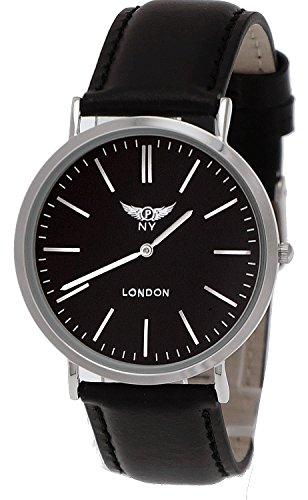 NY London designer Slim Unisex Leder Armband Uhr Schwarz Silber super flach inkl Uhrenbox