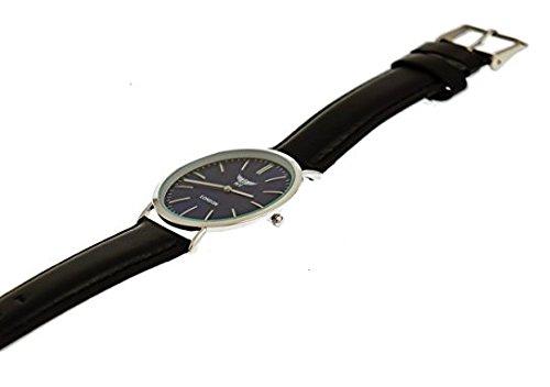 NY London designer Slim Damen Herren Rinder Leder Armband Uhr Schwarz Blau Silber super flach inkl Uhrenbox
