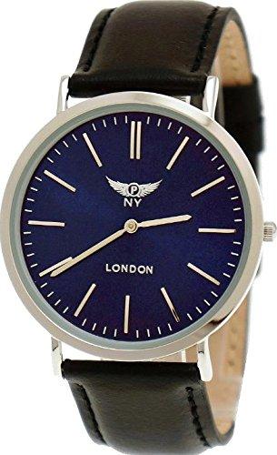 NY London designer Slim Unisex Damen Herren Leder Armband Uhr Schwarz Blau Silber super flach inkl Uhrenbox