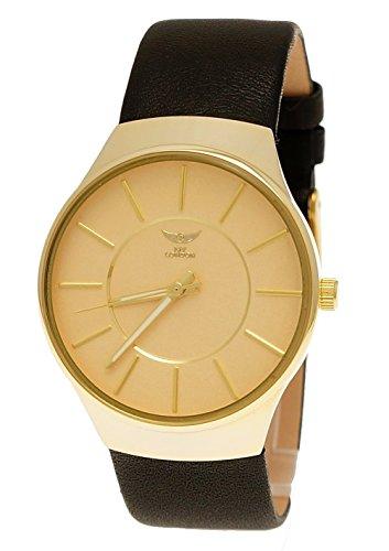 NY London designer Slim Unisex Damen Herren Leder Armband Uhr Schwarz Gold super flach inkl Uhrenbox