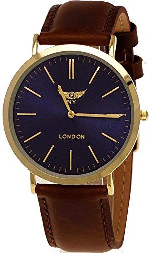 NY London designer Slim Damen Leder Armband Uhr Braun Blau Gold super flach inkl Uhrenbox