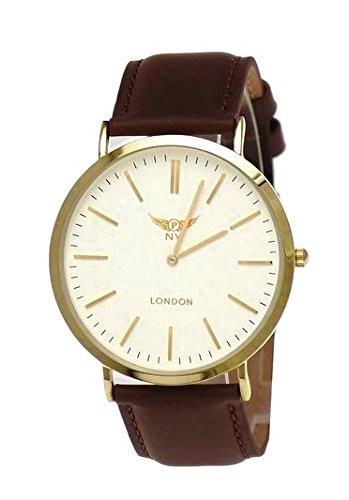 NY London designer Slim Unisex Damen Herren Leder Armband Uhr Braun Weiss Gold super flach inkl Uhrenbox