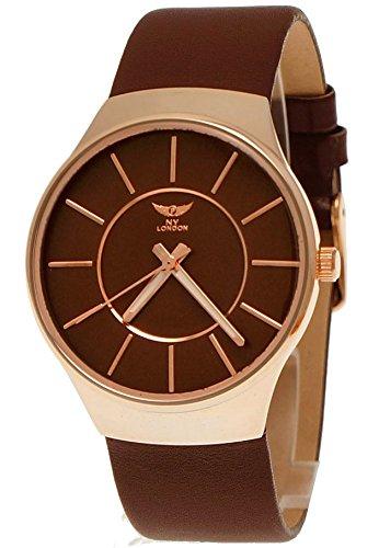 NY London designer Slim Unisex Damen Herren Leder Armband Uhr Braun Rose Gold super flach inkl Uhrenbox