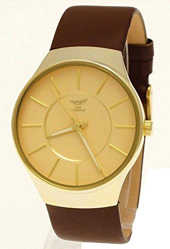 NY London designer Slim Unisex Damen Herren Leder Armband Uhr Braun Gold super flach inkl Uhrenbox