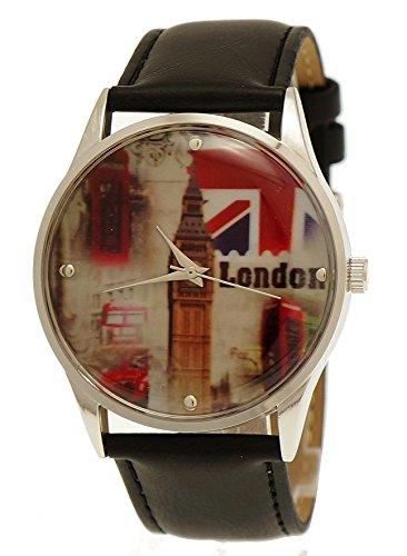 NY London Unisex Herren Damen Leder Armband Uhr Schwarz Silber inkl Uhrenbox