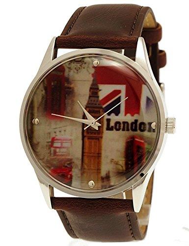 NY London Unisex Herren Damen Leder Armband Uhr Braun Silber inkl Uhrenbox