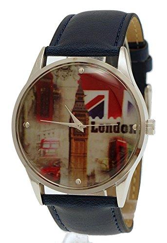NY London Unisex Herren Damen Leder Armband Uhr Blau Silber inkl Uhrenbox
