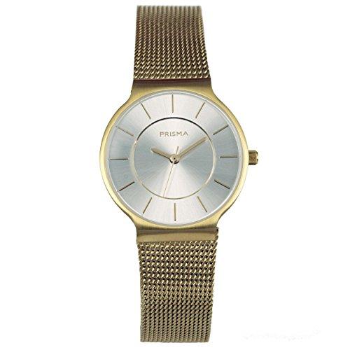 Prisma Icon gold Edelstahl mit Milanaise Armband und Analog Quarzwerk P 1809