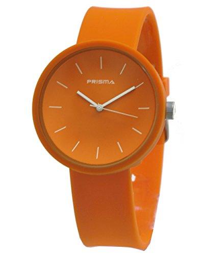 Prisma Simpel Unisexuhr mit orange Silikon armband Analog Quarz P1243