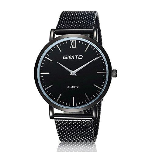 Gimto Maenner Frauen Einfache Stil Quarz Uhr Armbanduhr mit Edelstahlgewebe Band Schwarz