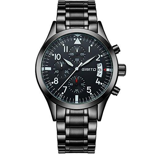 Gimto GM206 Mens Sports Military Analog Dial 50M wasserdicht Uhr Armbanduhr mit Hintergrundbeleuchtung Stoppuhr Chronograph Kalender Schwarz
