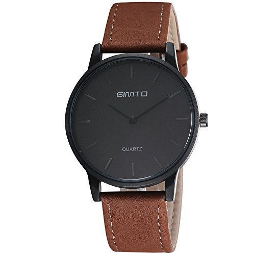 Gimto Maenner Simple Style Sport Quarz Uhr Armbanduhr mit braunem Leder Uhrarmband