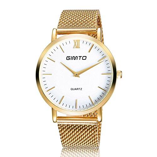 Gimto Maenner Frauen Einfache Stil Quarz Uhr Armbanduhr mit Edelstahlgewebe Band Golden