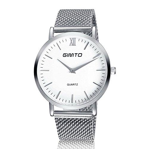 Gimto Maenner Frauen Einfache Stil Quarz Uhr Armbanduhr mit Edelstahlgewebe Band Silber