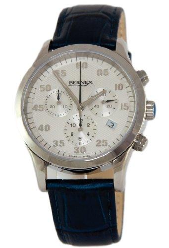 gb11412 Bernex Haute Herren Edelstahl Armbanduhr Quarz Silber Arabisches Zifferblatt mit Datum