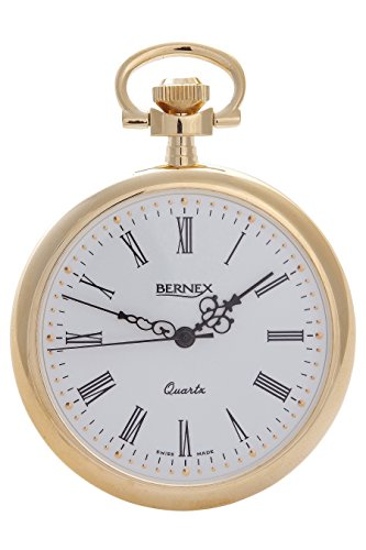 Bernex Haute Swiss Made vergoldet Open Face Quarz Taschenuhr