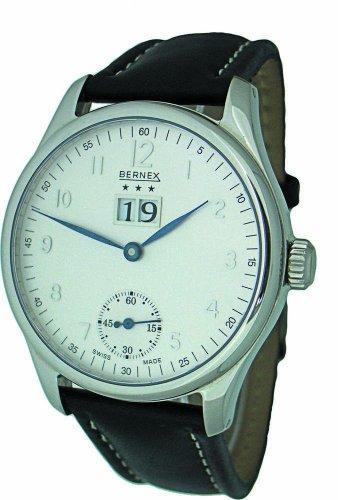 Bernex Schweizer Herren gross Edelstahl Grosses Datum Mechanisch Armbanduhr lederarmband silbernes ziffernblatt