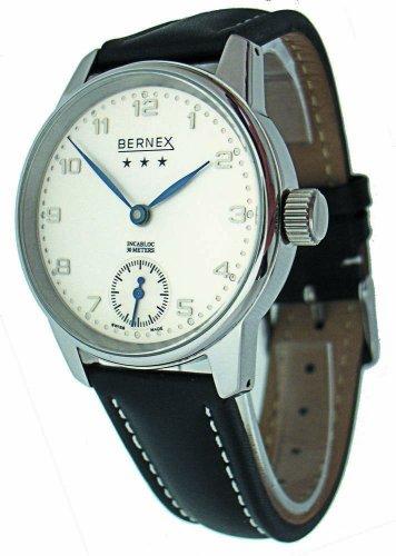 Bernex Schweizer Herren gross Edelstahl Silbernes Ziffernblatt Mechanisch Armbanduhr lederarmband