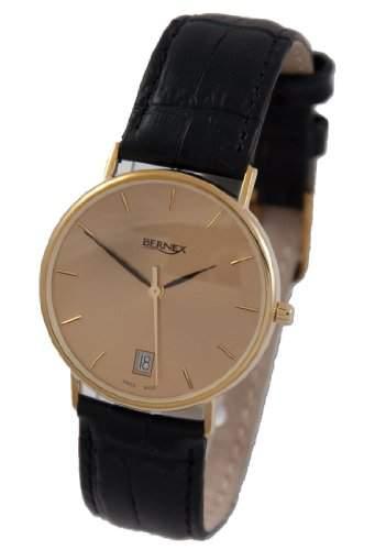 Bernex Herren-Armbanduhr Analog Gelbgold Gold BN11606