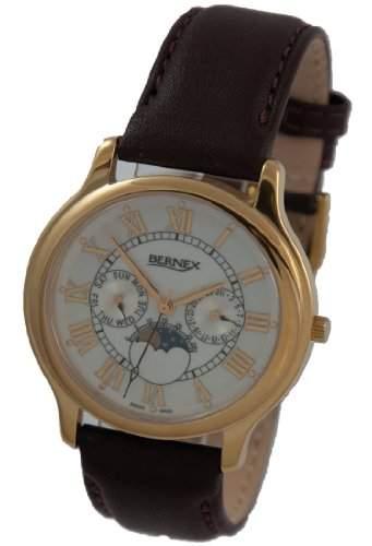 Bernex Herren-Armbanduhr Analog Leder GB11122