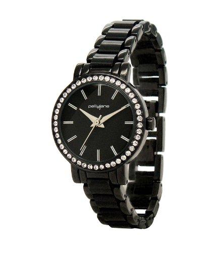 PallyJane Damen Armbanduhr 4051312 Quarz Analog Zifferblatt schwarz Armband Metall Schwarz