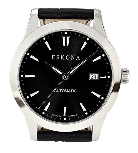 ESKONA mechanische Armbanduhr Automatikuhr Edelstahl 40 mm Zifferblatt Schwarz Silber