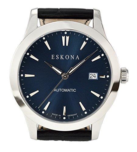 ESKONA mechanische Armbanduhr Automatikuhr Edelstahl 40 mm Zifferblatt Blau Silber