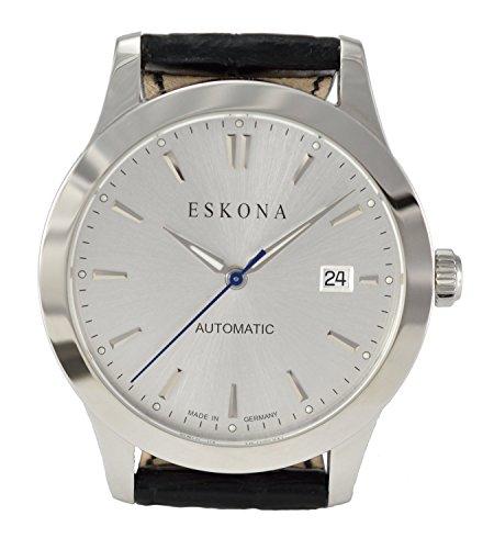 ESKONA mechanische Armbanduhr Automatikuhr Edelstahl 40 mm Zifferblatt Silber Silber