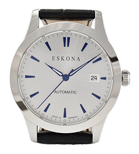ESKONA mechanische Armbanduhr Automatikuhr Edelstahl 40 mm Zifferblatt Silber Blau