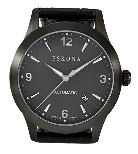ESKONA Black DLC mechanische Armbanduhr Automatikuhr Herrenuhr Edelstahl DLC beschichtet 40mm Zifferblatt Carbon Silber
