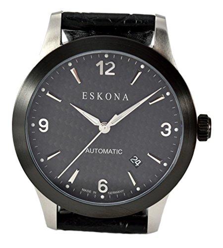ESKONA Black DLC mechanische Armbanduhr Automatikuhr Bi Color Edelstahl DLC beschichtet 40mm Zifferblatt Carbon Silber