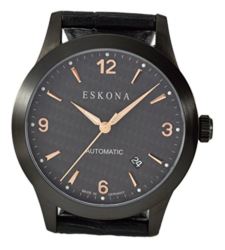 ESKONA Black DLC mechanische Armbanduhr Automatikuhr Herrenuhr Edelstahl schwarz DLC beschichtet 40mm Zifferblatt Carbon Rotgold