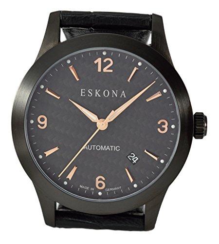 ESKONA Black DLC mechanische Armbanduhr Automatikuhr Edelstahl schwarz DLC beschichtet 40mm Zifferblatt Carbon Rotgold