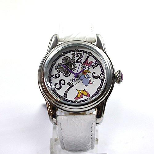 Disney Uhr Automatikuhr Daisy Duck Damenuhr Lederband white Strass Cartoonuhr