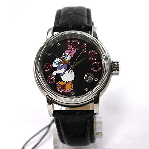 Disney Uhr Automatikuhr Daisy Duck Lederband Datum Strass Sammleruhr