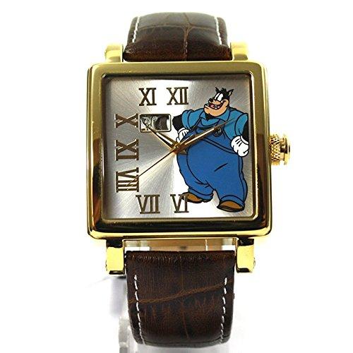 Disney Uhr eckige Automatikuhr Lederband goldfarben Roemisch Cartoonuhr