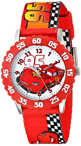 Disney Kids Cars Lightning McQueen Stainless Steel with Red Bezel watch W001227 Printed Strap Analog Display Analog Quartz Red Watch