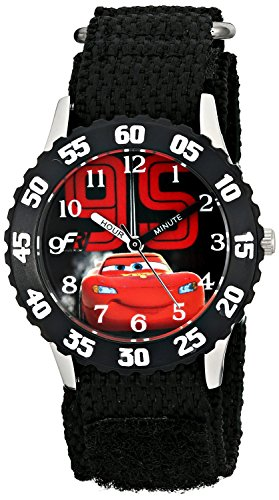 Disney Kids Cars Lightning McQueen Stainless Steel Watch W001586 Black Nylon Band